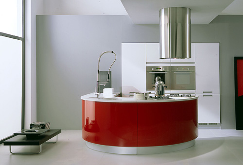 red curved kitchen