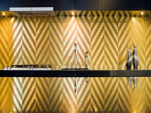 gold tile splash back