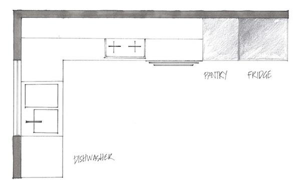 L shape kitchen plan