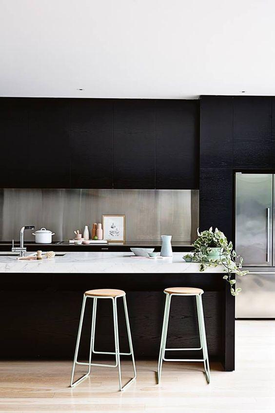 black kitchen with stainless steel splashback
