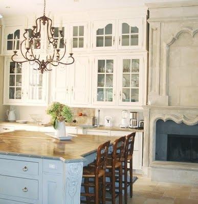 soft blue french kitchen