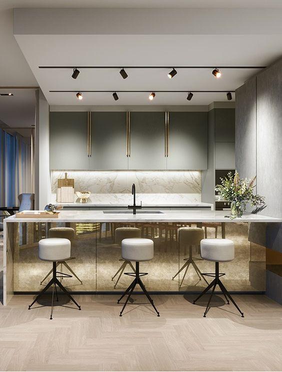 gold kitchen island