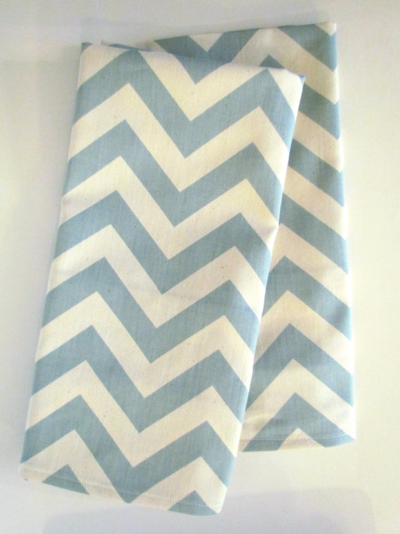 chevron blue tea towel