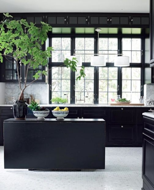 black kitchen with light