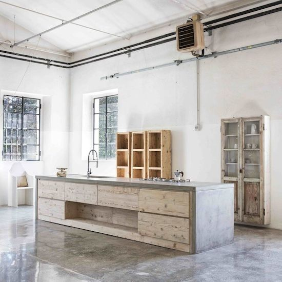 concrete kitchen with timber