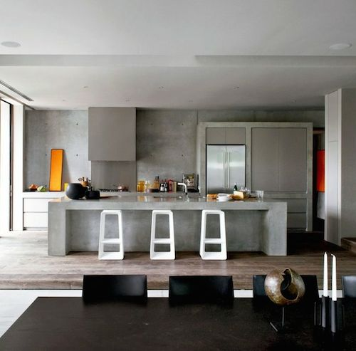 kitchen with thick concrete structure