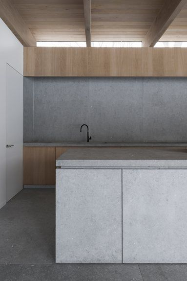 concrete splashback with timber