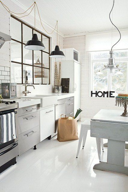 white stainless steel industrial kitchen