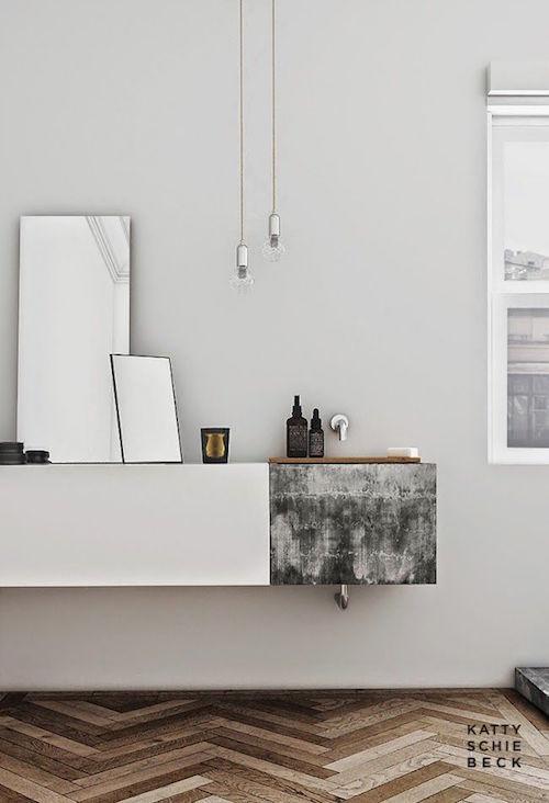 herringbone tiles in modern bathroom