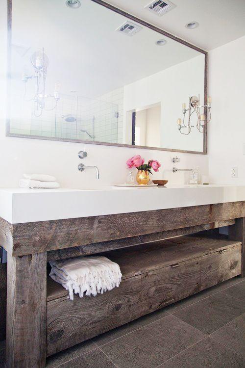 modern bathroom with rustic vanity