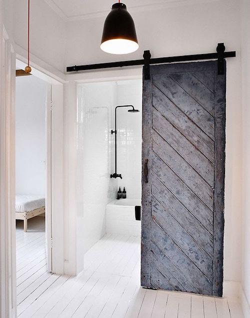 barn door in modern bathroom
