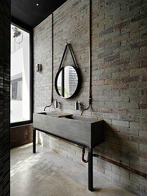 brick wall: texture in bathroom