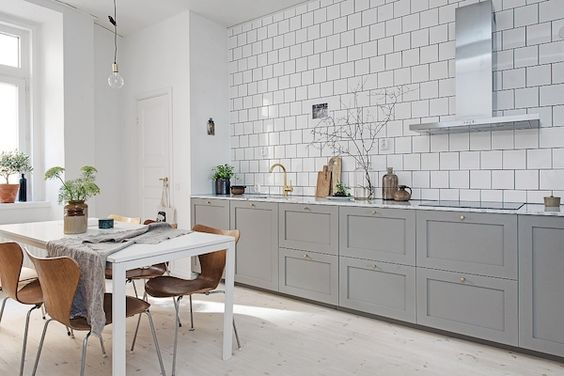 kitchen floor cabinets in a scandinavian kitchen