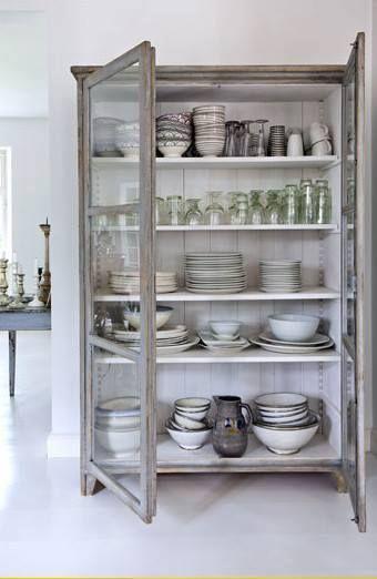 vintage cabinet for plate storage
