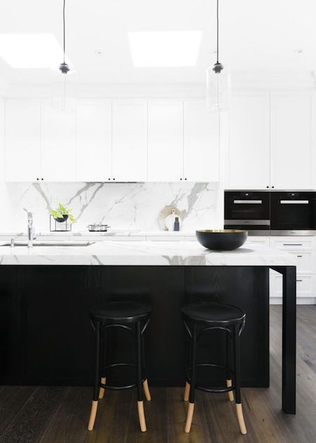 contemporary black and white kitchen with modern appliances