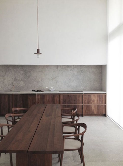 Contemporary minimalist kitchen in timber