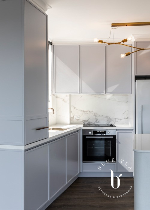 Brass lighting and grey cabinetry | Bronte Kitchen Design