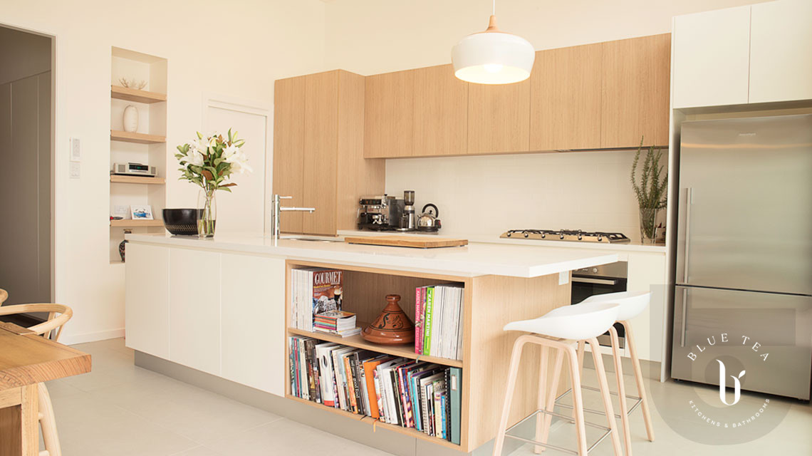Coogee kitchen design featuring a Scandinavian kitchen with warm timber tones and white cabinetry.