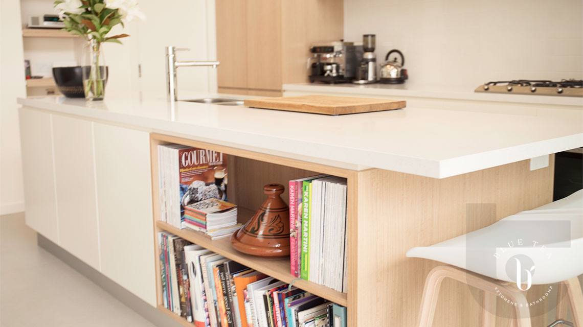 Scandinavian Kitchen Design in Coogee, Sydney featuring timber and white cabinetry with open shelves in the island.