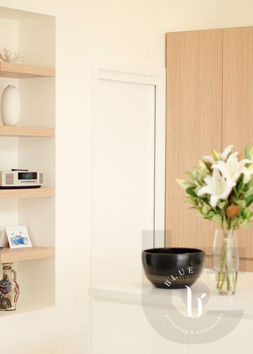 Open timber shelves in Scandinavian kitchen design, Coogee.