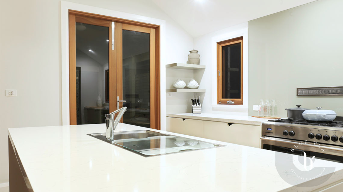 Kitchen island with white stone in Hunters Hill, Sydney