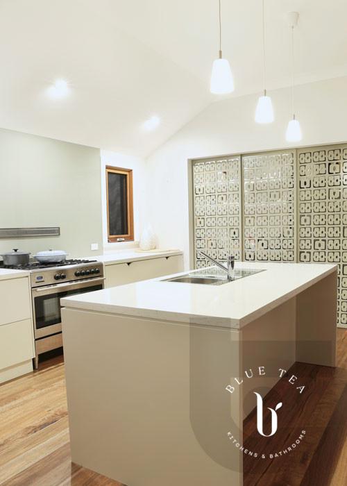 Custom designed sliding doors and kitchen island details in Hunters Hill Sydney.