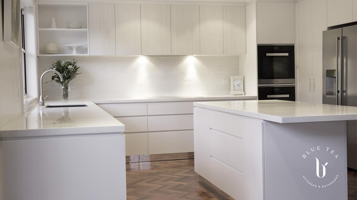White kitchen and white bench top | Blue Tea