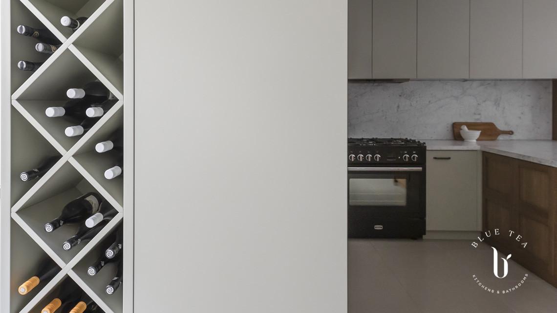 kitchen with wine rack feature | Blue Tea Kitchens