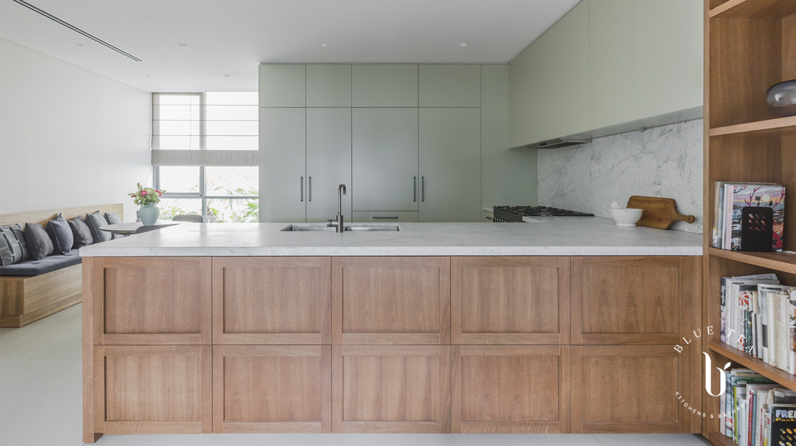 Timber shaker doors Contemporary kitchen | Blue Tea