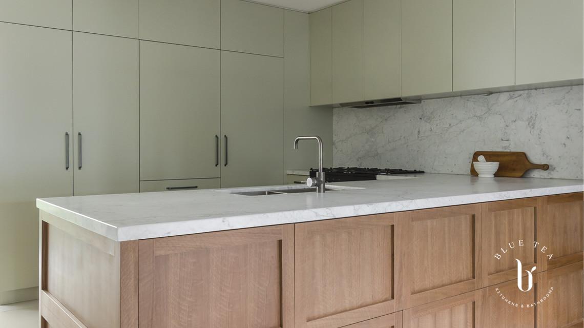 timber veneer shaker doors | Blue Tea Kitchens