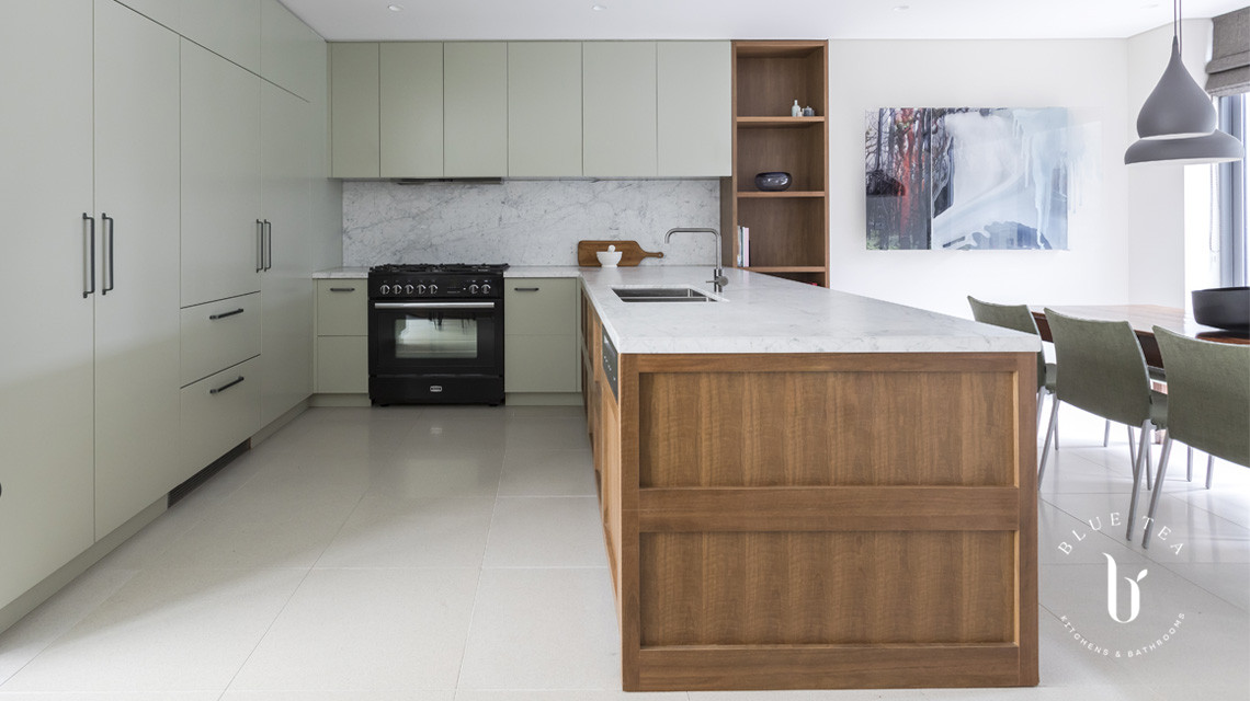 timber, marble and pale green cabinetry | Blue Tea Kitchens