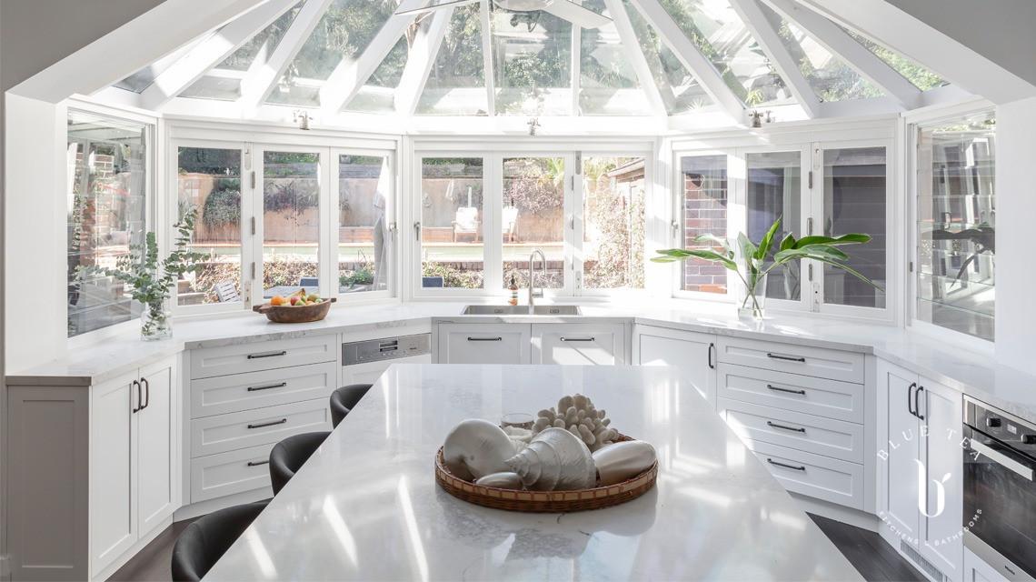 Hamptons kitchen with bifold windows