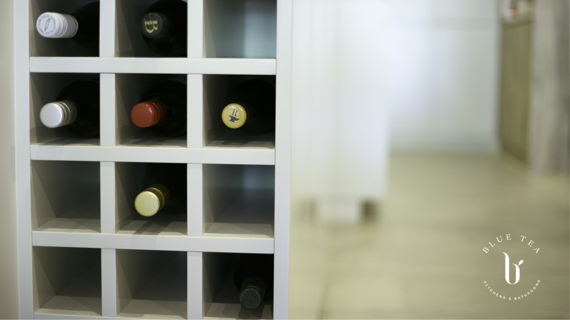 Wine rack in kitchen | Blue Tea