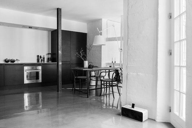 danish kitchen featuring dark cabinetry