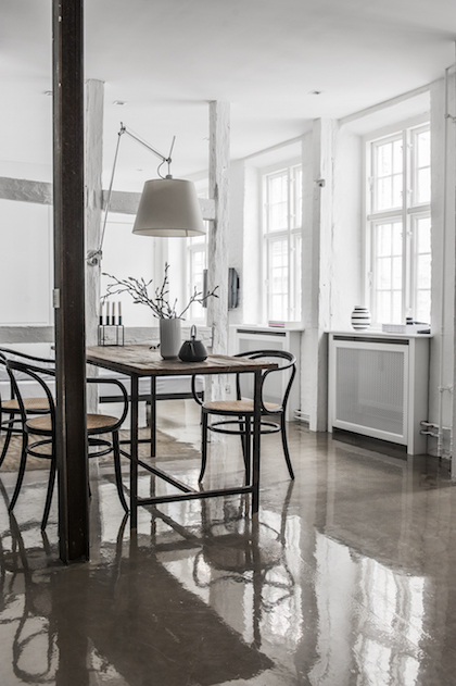 concrete floors in danish kitchen and dining