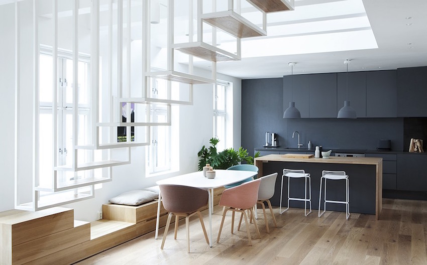 Grey Kitchen in Oslo apartment by Haptic Architects