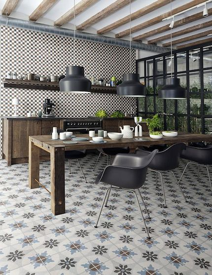 industrial kitchen with textural finishes