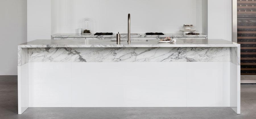 marble kitchen island detail by piet boon