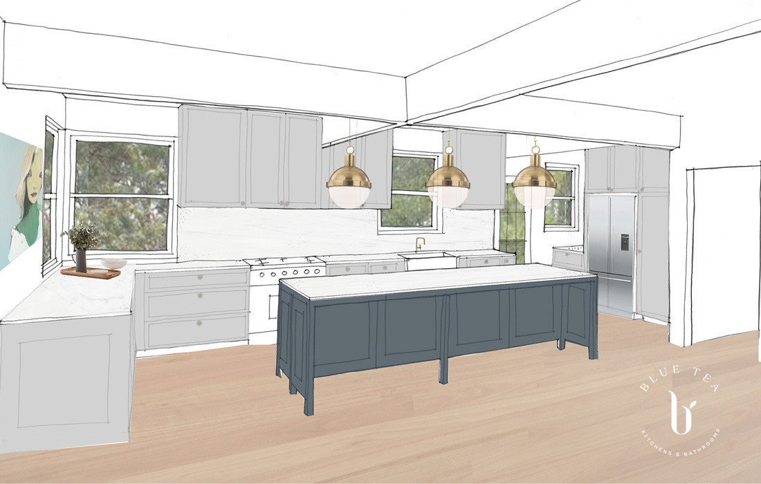 Hamptons kitchen drawing sketch with feature lighting and a dark island in Sydney.
