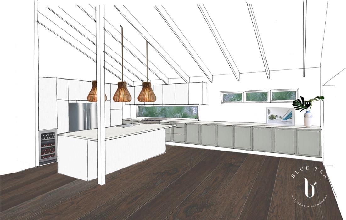 Kitchen Sketch Hamptons | Blue Tea