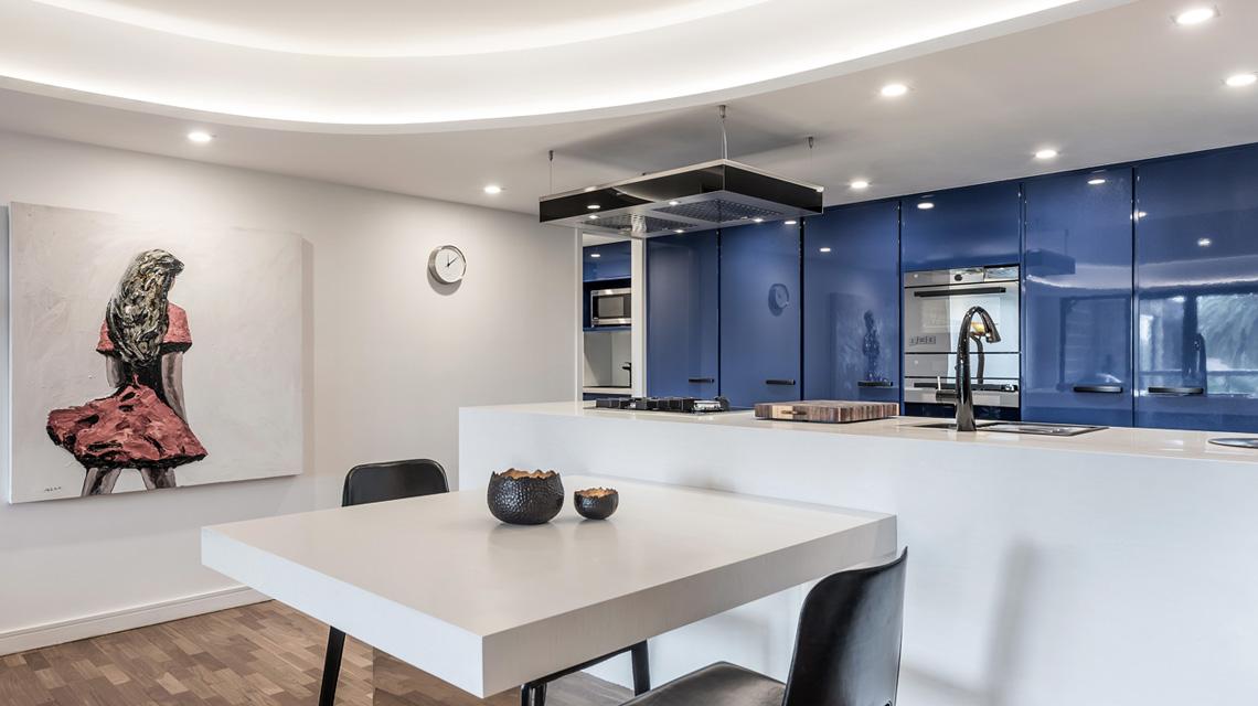 Blue Kitchen showcasing artwork | Blue Tea