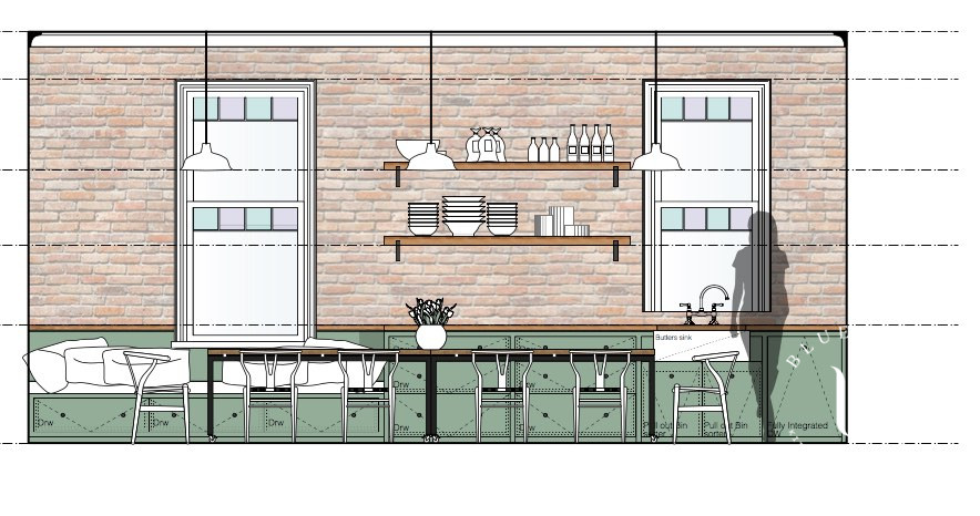 Kitchen concept sketch for a country kitchen design in Sydney.