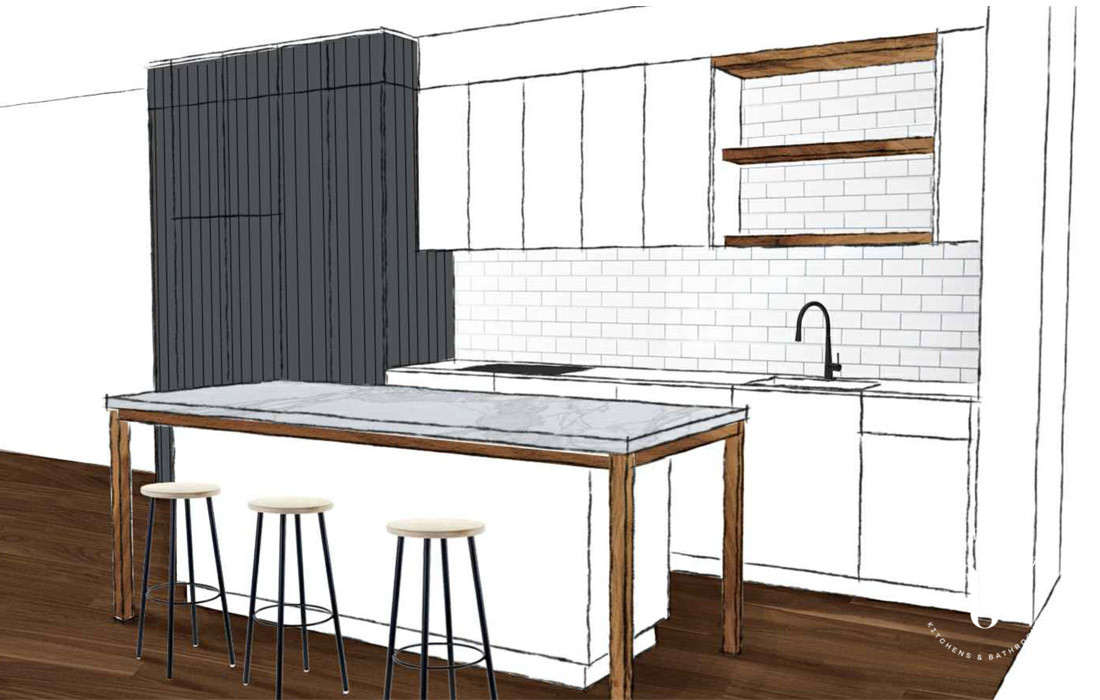 3D kitchen drawing, white cabinetry and island | Blue Tea