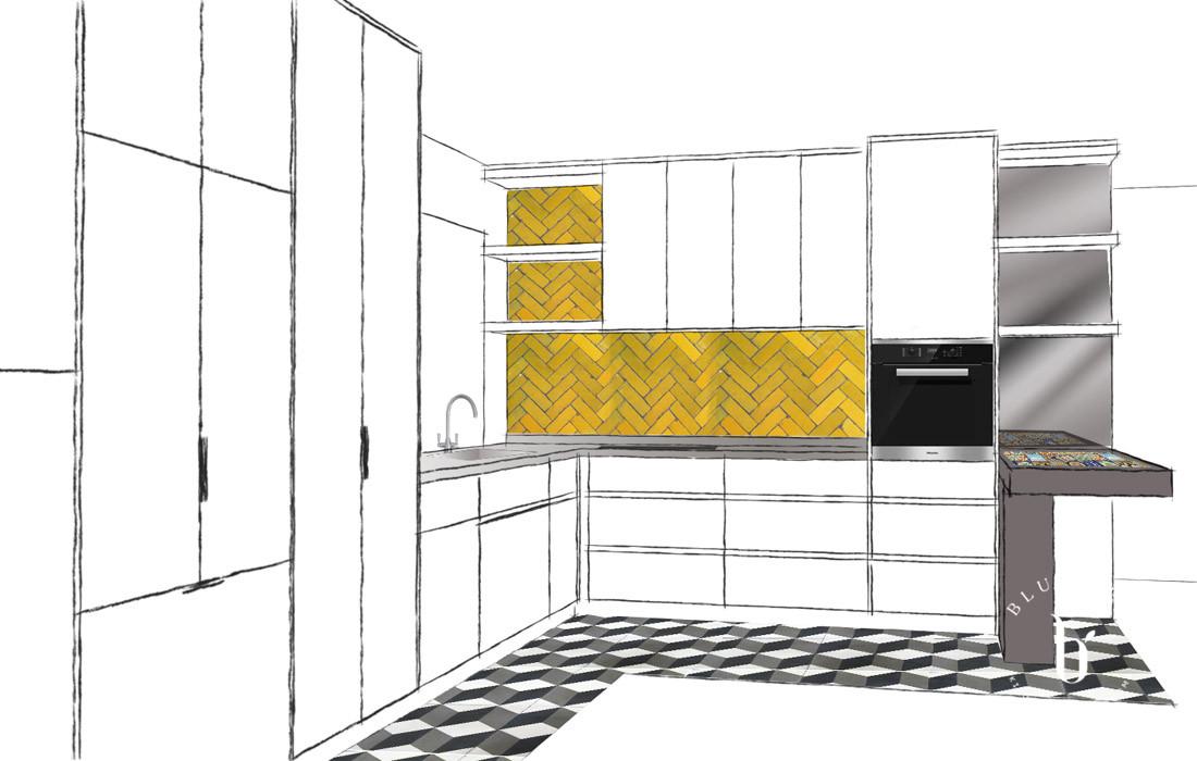 kitchen design sketch with feature tiles | Blue Tea