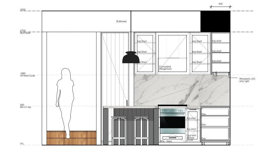 Kitchen elevation sketch showing kitchen layout, Sydney.