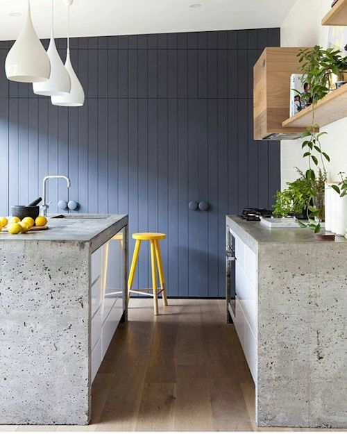 Concrete bench tops and V groove cabinetry