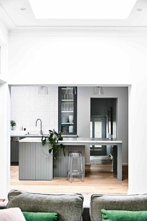 Grey V Groove kitchen cabinets