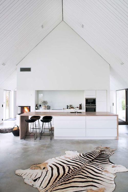 white modern kitchen in farm style house