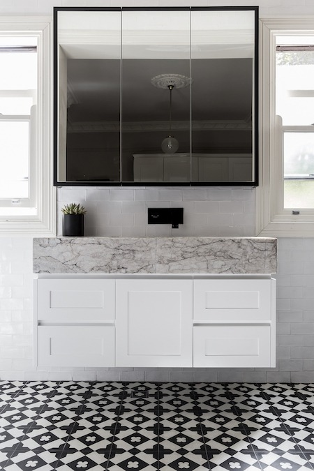 bathroom vanity with marble