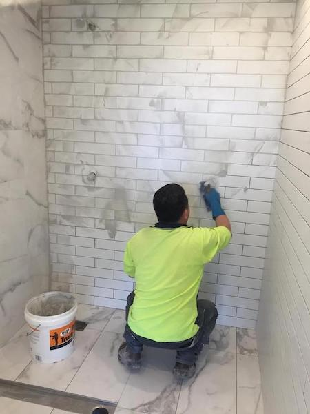 tiling a bathroom wall